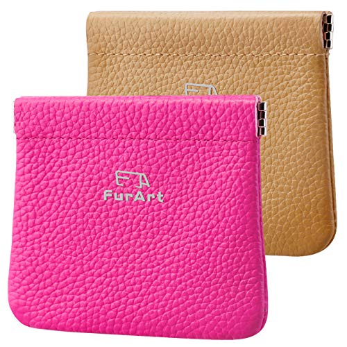 - 2 PACK Genuine Leather Squeeze Coin Purses Pouches for Women&Men