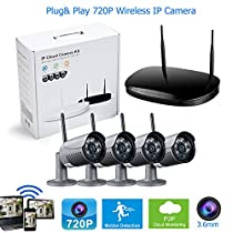 4 Cameras WIFI Video Surveillance Security System Outdoor Night Vision Camera HD1080P NVR Plug and Play P2P Mobile View