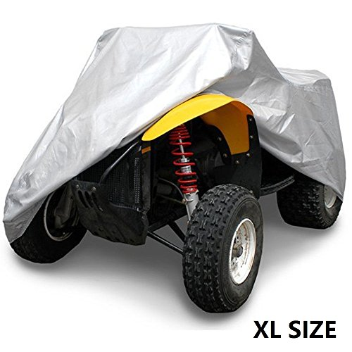 VVHOOY 190T Universal All Weather Protection ATV Cover, Waterproof Heavy Duty ATV Cover Protects 4 Wheeler From Snow Rain or Sun Silver (86X47X45inch,XL) Heavy Duty Rain Cover