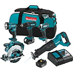 The Makita 18V LXT Lithium-Ion 5-Piece Combo Kit (model XT505) gives you four efficient cordless tools for drilling, driving fastening and cutting, with a cordless flashlight to light your work area when you need it. You also get the category...