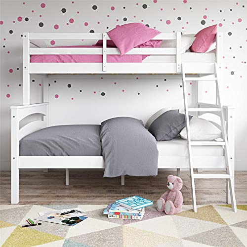 (Dorel Living Brady Twin Over Full Solid Wood Kid's Bunk Bed with Ladder,)