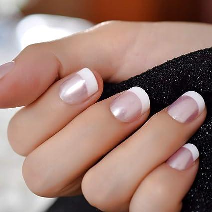 EchiQ - Uñas postizas de acrílico, color rosa y blanco