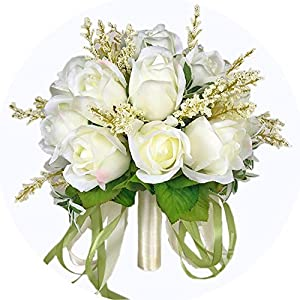 Tokyo Cold Bridal Bouquet Ivory Rose Throw Wedding 18 Flowers Bridesmaid Bouquet 46