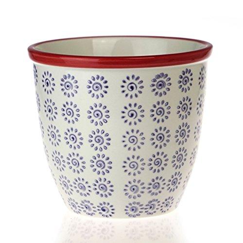 Nicola Spring Patterned Plant Pot Porcelain Indoor/Outfoor Flower Pot - Purple/Red Swirl Design