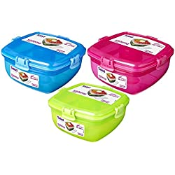 Sistema Lunch Salad To Go Container, 37.1 oz - Blue, Pink, Green (3 Pack) - Food Solutions For Busy Lifestyles