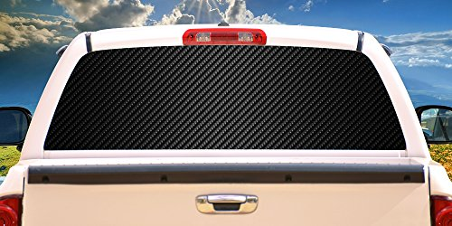CARBON FIBER Rear Window Graphic truck view thru vinyl decal back