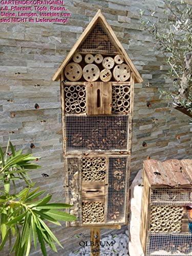 BTV 1x geflammt-rustikale Bienenhotel,Insektenhaus + Bienenhaus Spitzdach HOCH, mit Bienentränke, insektenhotel, Farbwahl