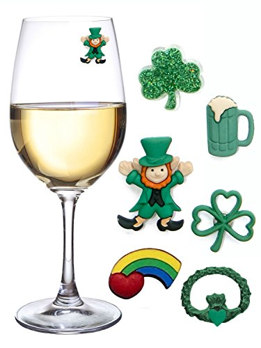 St Patricks Day Magnetic Drink Markers and Wine Charms for Stemless Glasses Beer Mugs or Cocktails Fun Decorations for a Party or Irish Gift Set of 6 by Simply Charmed
