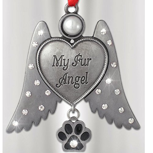 Fur Christmas Ornaments (Dog - Cat Memorial Ornament- Angel Hanging Christmas Ornament with Rhinestone Jeweled Wings and Paw Print Charm - My Fur Angel Engraved on Heart - Metal 3