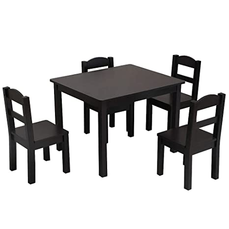 Pleasant Bonnlo Kids Table And 4 Chairs Set 5 Piece Wood Toddler Table And Chair Set Espresso Lamtechconsult Wood Chair Design Ideas Lamtechconsultcom