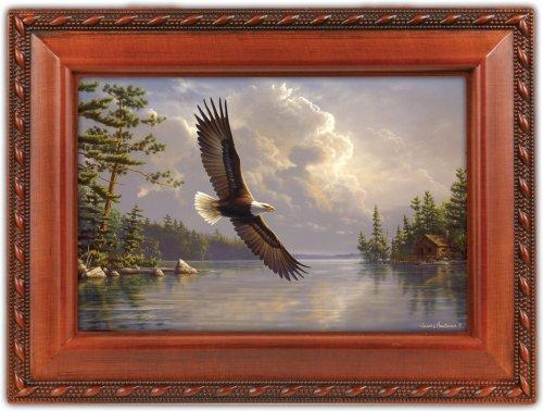 Eagle Cottage Garden Woodgrain Traditional Music Box Plays Wind Beneath My Wings (Kaleidoscope Music Box)
