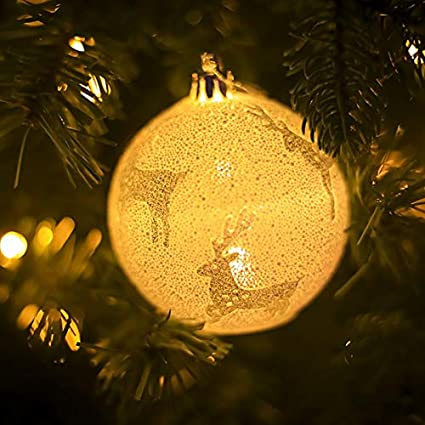 homdc snowflake star elk tree printing light balls christmas tree hanging wooden ornaments party christmas decorations - Christmas Light Balls For Trees