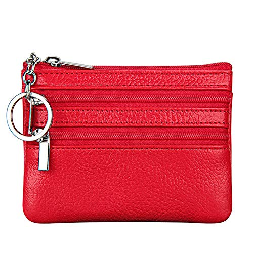 Women's Genuine Leather Coin Purse Mini Pouch Change Wallet with Key - Purse Wallet Ring Key