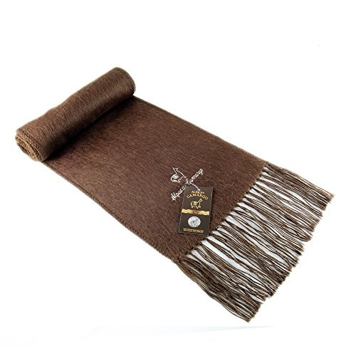 Beautiful Alpaca Scarf Peruvian Camargo Style - Fair Trade Natural Dye-Free Colors - Soft and Incredily Warm (Brown)
