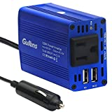 Gutens 150W Car Power Inverter DC 12V to AC 110V Power Converter with 12V Clip-On Battery Cigarette Lighter Adapter and 3.1A Dual USB Charger