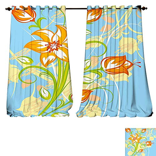 Window Curtain Drape Floral Tiger Lily in Retro Vibrant Colors Essence Buds Florets Picture Light Yellow Orange Sky Blue Decorative Curtains For Living Room (W107 x L72 -Inch 2 Panels) (Lily Drapes Tiger)