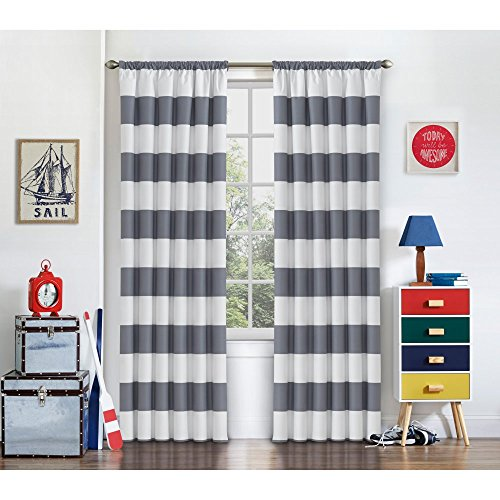 Eclipse 15942042X063GRE Peabody 42-Inch by 63-Inch Single Window Curtain Panel, - Grey Stripe Single