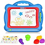 "Geekper Magnetic Drawing Board, 15.75"" Erasable Colorful Magna Doodle Toys Writing Sketching Pad Set with 5 Shape Stamps & Lovely Sticker ( Blue )"