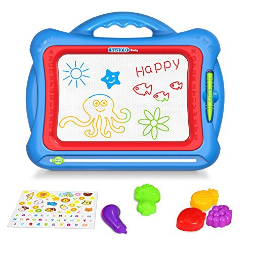 Geekper GP-MB1 Magnetic Drawing Board, 15.75 Inch Erasable Colorful Magna Doodle Toys Writing Sketching Pad,Set with 5 Shape Stamps and Lovely ()