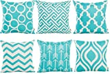 HOSL 6 Pack P117 Geometric Pattern Decorative Pillow Cover Case...