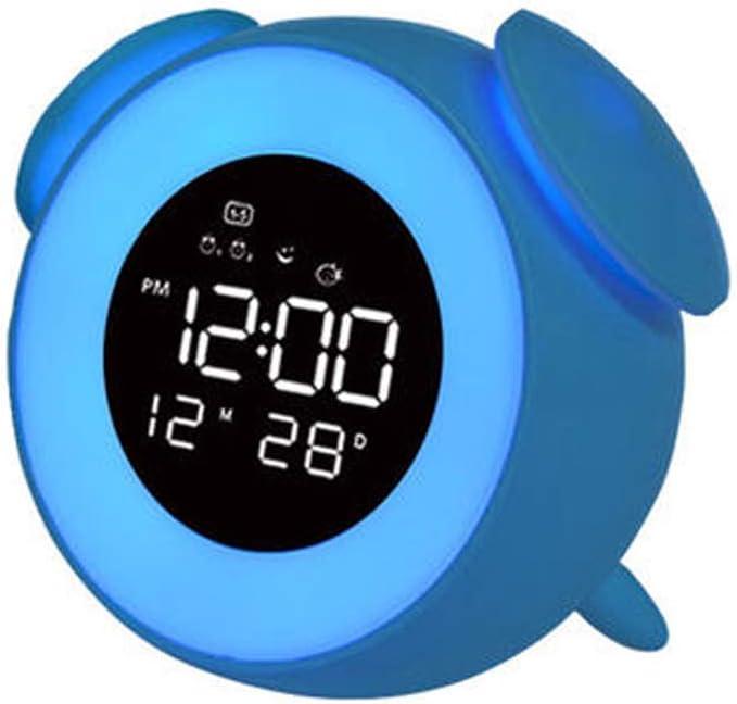 LSCZQ Multifunción, Luminosa y Colorida, luz de Noche, Reloj Despertador pequeño y Lindo para niños, Pantalla Digital de Cuatro dígitos con Brillo Ajustable, función de repetición de un botón