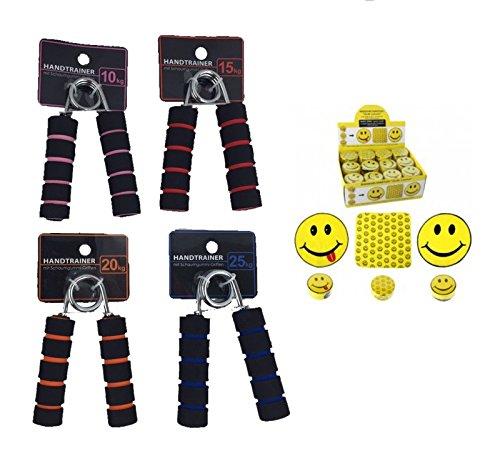 4 Handtrainer inkl. Handtuch, Federgriffhantel, Handmuskeltrainer, Fingerhantel