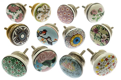(Mango Tree Hand Finished Ceramic Cupboard Door Knobs in Different Designs of Flowers, Birds, Moroccan Patterns in Vintage Styles 1.5