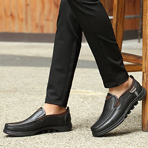 Shoes Casual Leather Stitching gracosy Loafer Non Slip Black Walking Men 2 Microfiber Hand Shoes On Slip wvqavPS0
