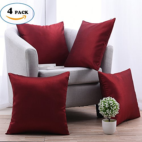 Soft Cushion Covers for Patio Couch - PONY DANCE Square Throw Pillow Covers  Handmade Accent Decorative Pillowcases Including Hidden Zipper  Design,Burgundy ... - Large Couch Pillows: Amazon.com