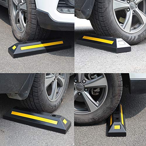 2 Pack Heavy Duty Rubber Parking Blocks Wheel Stop for Car Garage Parks Wheel Stop Stoppers Professional Grade Parking Rubber Block Curb w/Yellow Refective Stripes for Truck RV, Trailer 21.25''(L) by Reliancer (Image #6)