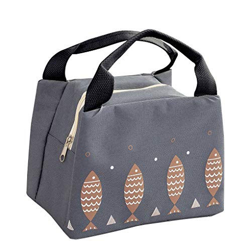 Arichtop Fish Food Insulation Lunch Handbag Fruit Picnic Dinner Storage Cooler Bag Cold Portable Heavy Ice Pouch Deep Gray