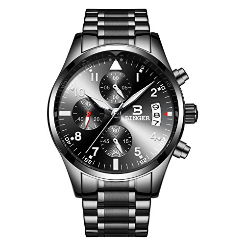Gentlemans Chronograph Watch Black Dial (CADISEN Chronograph Sport Military Calender Date Window Casual Quartz Mens Watch with Genuine Leather/Steel Band(B9202MNNB))