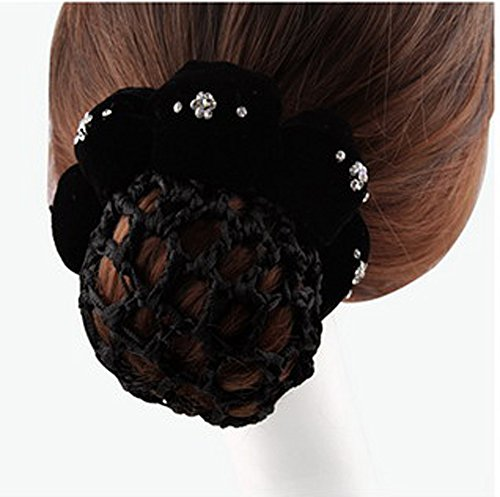 Skyvan Crystal Floral Snood Net Barrette Hair Clip Bun Cover