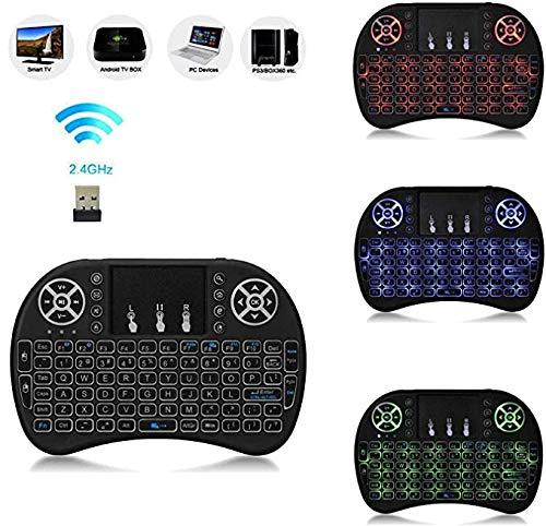 EVALUEMART® Mini 2.4GHz Wireless Touchpad Keyboard with Mouse (with Backlight) for PC/PAD/360XBox/PS3/Google Android TV Box/HTPC/IPTV (2.4G Black) …