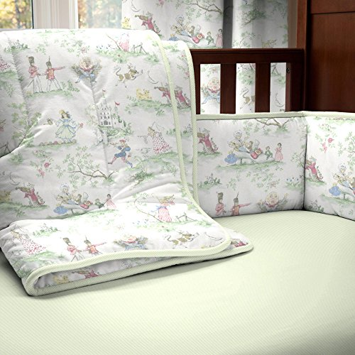 Carousel Designs Nursery Rhyme Toile Sage 3-Piece Crib Bedding Set