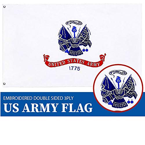 (G128 - US Army Flag Double Sided Embroidered 3x5 ft Flag Brass)