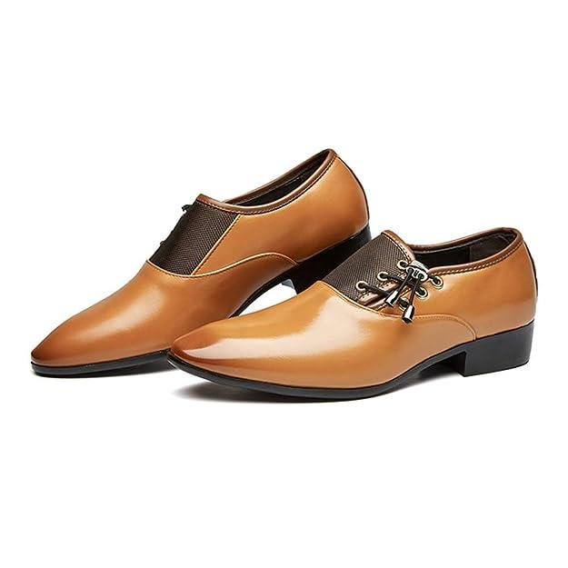Daytwork Zapatos Hombre Puntiaguda Casuales Negocios - Cuero Oxfords Formal Boda Clásico Slip-on Derby Señaló Oficina Elegante Conducir Mocasines Uniforme ...