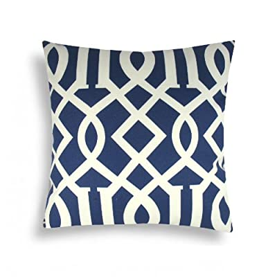 Domusworks Trellis Pillow, Navy Blue - Pattern on both front and back, zipper closure bottom Textile resists harsh sunlight, mold, mildew, soil and stains Removable non-allergenic poly insert - patio, outdoor-throw-pillows, outdoor-decor - 51LsvyRaGcL. SS400  -