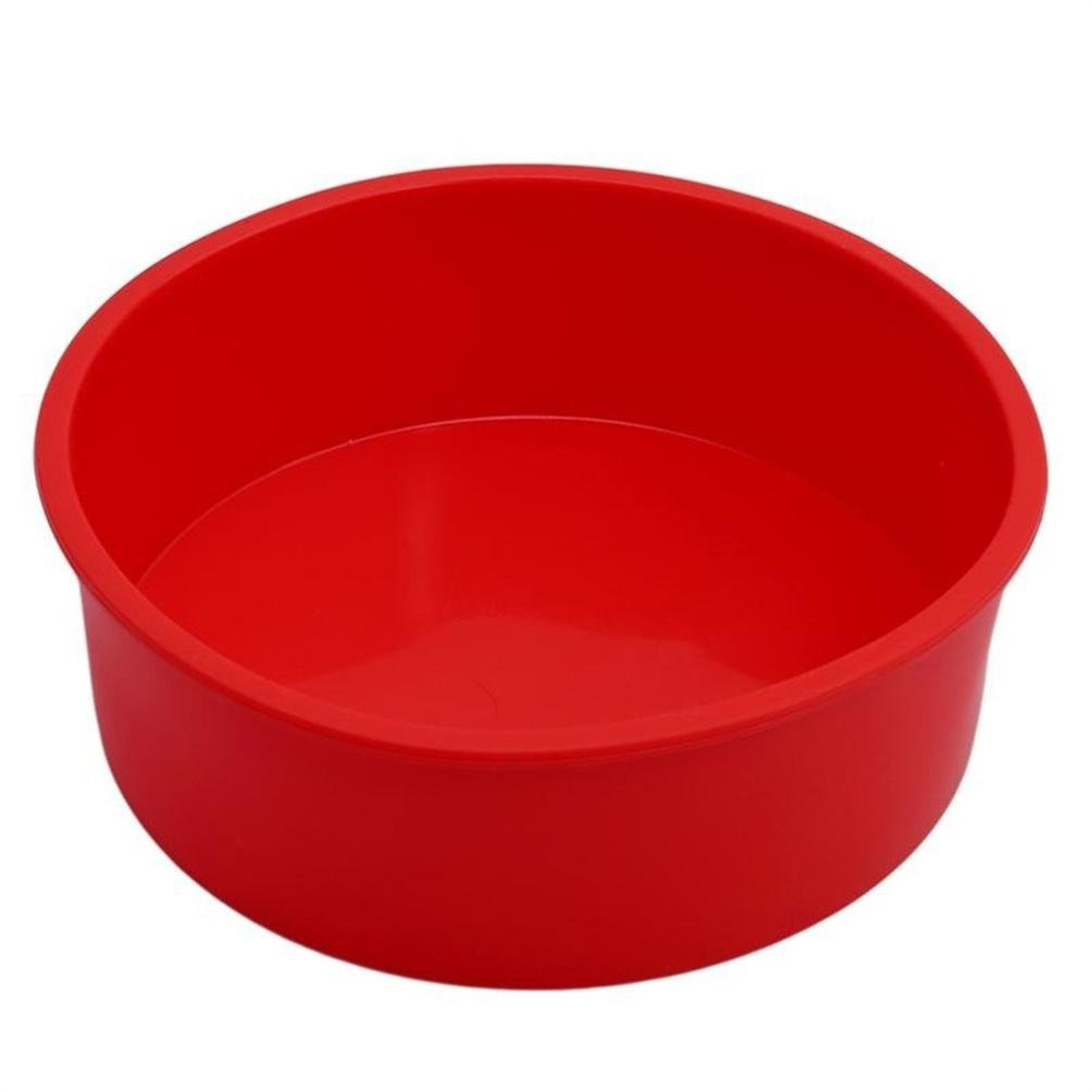 6 Inch Round Red Silicone Cake Mold Muffin Pizza Pastry Baking Tray Mould Round Cake Pan Mold Vacally