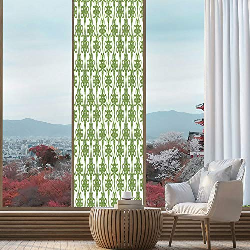 (YOLIYANA Frosted Window Film Stained Glass Window Film,Irish,Work Well in The Bathroom,Entangled Clover Leaves Twigs Celtic Pattern Botanical Filigree,24''x78'' )