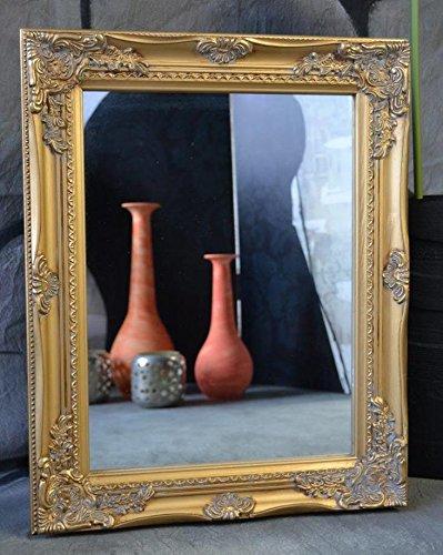 Spiegel Wandspiegel barock antik Silber Weiß Gold 50x 40 cm Landhaus Holz (Gold)