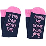 [UPGRADED] -Wine Glass Funny Socks IF YOU CAN READ THIS BRING ME SOME WINE Socks Gifts For Women