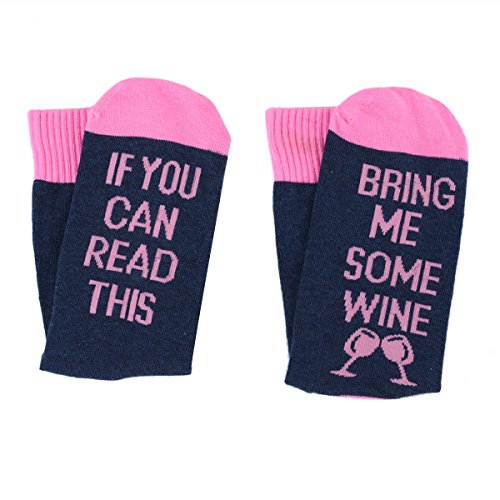 [UPGRADED] -Wine Glass Funny Socks IF YOU CAN READ THIS BRING ME SOME WINE Socks Gifts For Women (Nacy)
