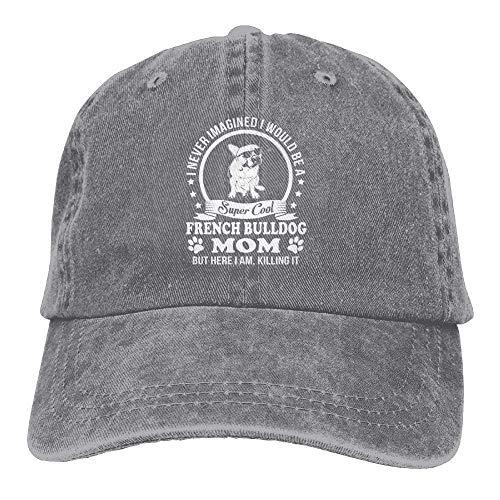 Whenpigsfly Cotton Trucker Baseball Hat Cowboy Cap for Womens and Mens French Bulldog Mom Ash ()
