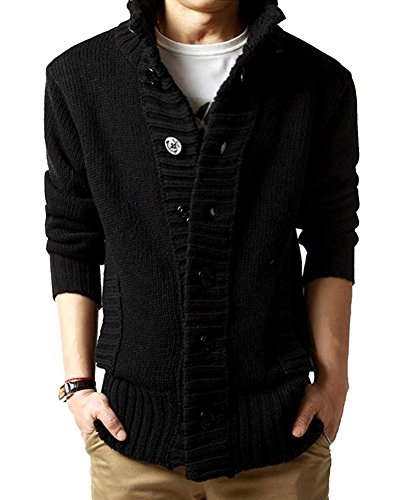 Men's Button Point Stand Collar Knitted Slim Fit Cardigan Sweater (L, Black)