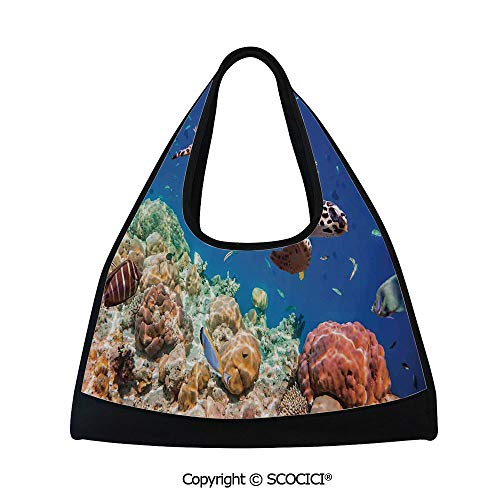 Fitness bag,Lonely Old Tropical Sea Turtle Swimming Shoal Sea Sponges Maldives Image,Sports and Fitness Essentials(18.5x6.7x20 in) Navy Blue Tan and Brown ()