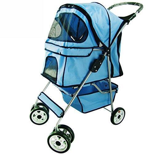 NAUY- Kleine und mittelgroße Licht Vierrad Haustier Trolley Katze Hund Trolley Faltbare waschbare Haustier Auto ( Farbe : Blau )