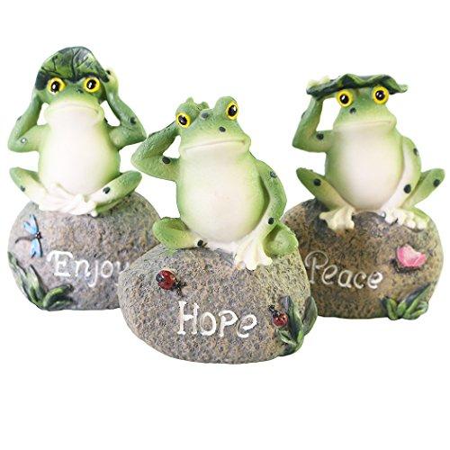 JAROWN 3 pcs Cute Resin Frog Animal Figurine Statues Ornamen