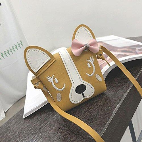 Loisir 3D Sac Crossbody Mini Jaune Chats QinMM Épaule Animal Fille Mignon Enfants Bowknot Chiens à à Shopping Tout Fourre Oreilles Bandoulière Main Crossbody Bag Sac fdqgw7