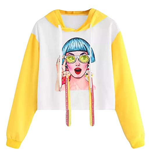 3bbdc2e502 Dimanul Hoodies Sweatshirt Women Long Sleeve Pullover Sexy Teen Girls  T-Shirt Crop Tops New Cute White at Amazon Women s Clothing store